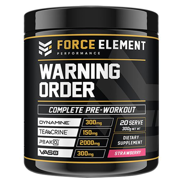 Force Element Warning-Sports Nutrition - Pre Workout-Force Element Performance-40 Serve-STRAWBERRY-Thrive Health and Nutrition