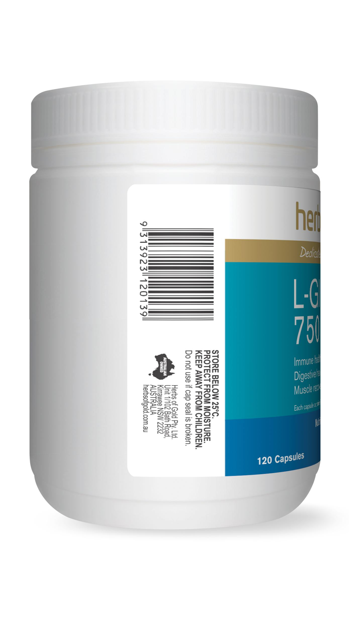 HofG L-Glutamine 750-Vitamin and Minerals - Probiotic And Gut Health-Herbs of Gold-120VC-Thrive Health and Nutrition