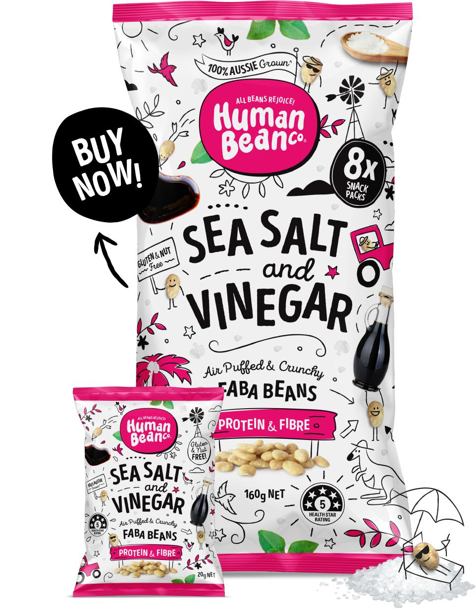 Human Bean Co Faba Beans-Health Foods - Snacks-Human Bean Co-8x20g-Sea Salt And Vinegar-Thrive Health and Nutrition