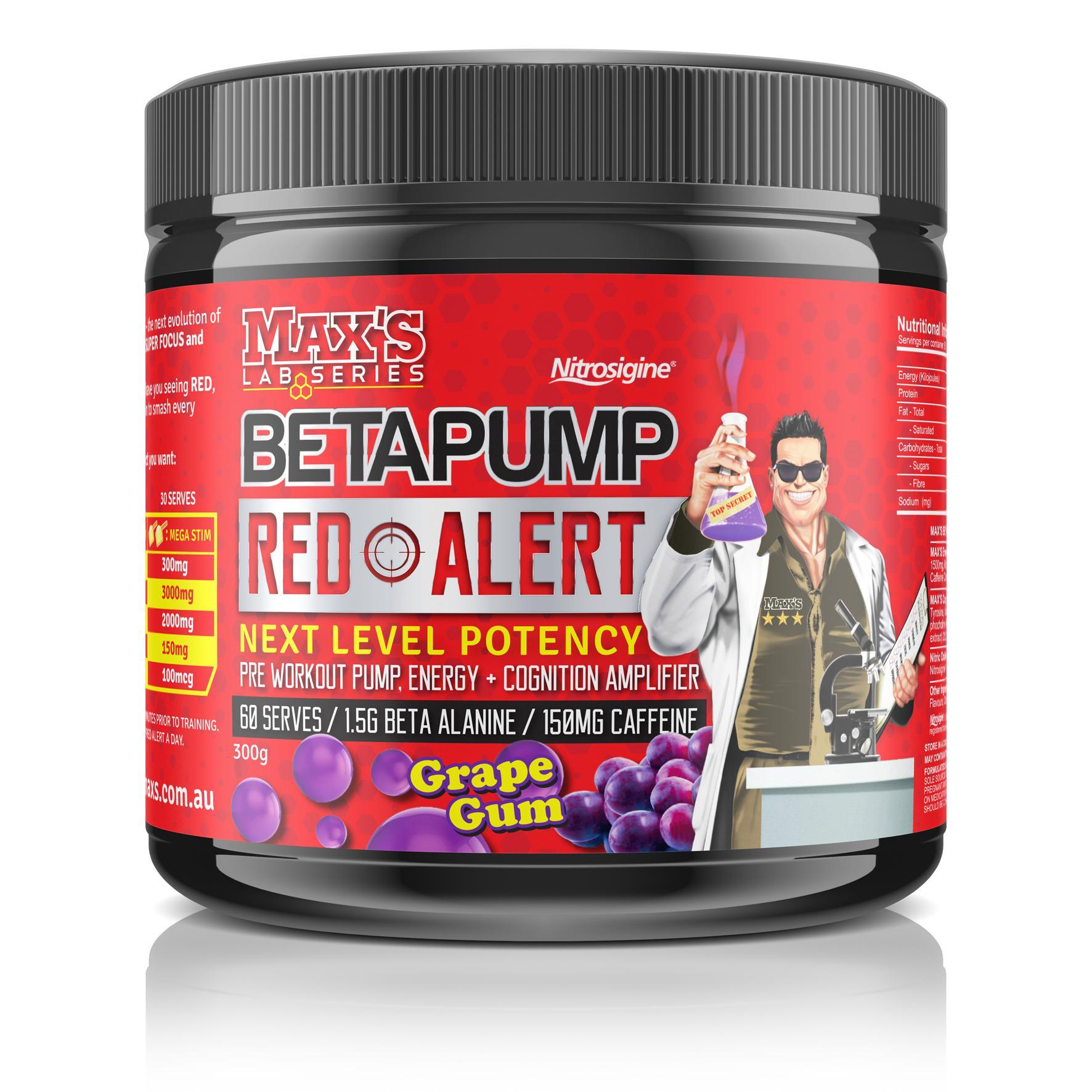 Maxs Beta Pump Red Alert-Sports Nutrition - Pre Workout-MAX-60 Serves-Grape-Thrive Health and Nutrition