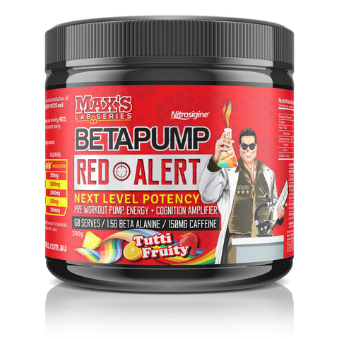 Maxs Beta Pump Red Alert-Sports Nutrition - Pre Workout-MAX-60 Serves-Tutti Fruity-Thrive Health and Nutrition