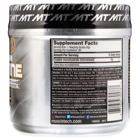 MT Platinum 100% Micronized Creatine-Sports Nutrition - Creatine-MUSCLETECH-400GM-UNFALVOURED-Thrive Health and Nutrition