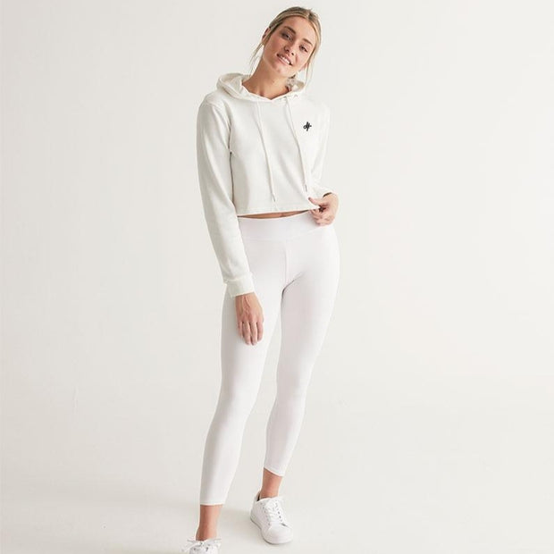 WHITE OUT CROP TOP HOODIE