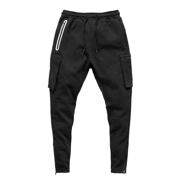HUSTLE CARGP ZIP JOGGERS - BLACK
