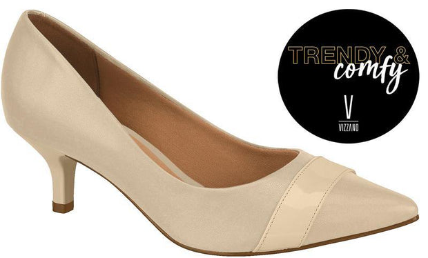 Vizzano 1122-855 Pointy Toe Kitten Heel Pump in Beige Napa