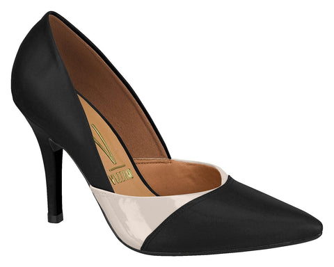 Vizzano 1184-1012 Two-Tone Pointy Toe Pump in Black/Cream