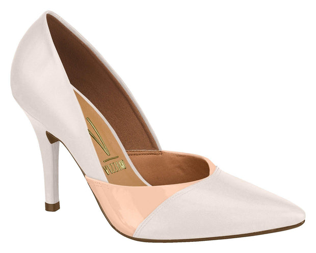 Vizzano 1184-1012 Two-Tone Pointy Toe Pump in Cream/Peach Heels Vizzano