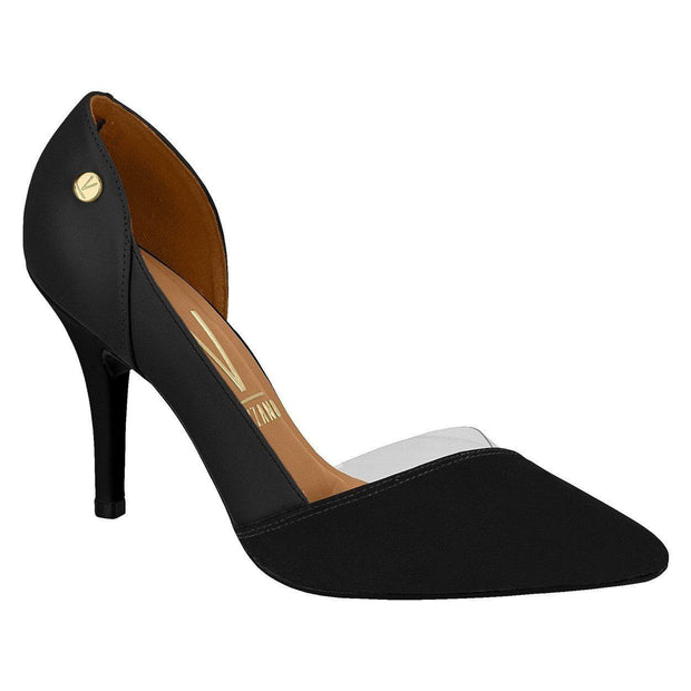 Vizzano 1184-1122 Pointy Toe Pump in Black Nubuck/Napa Heels Vizzano