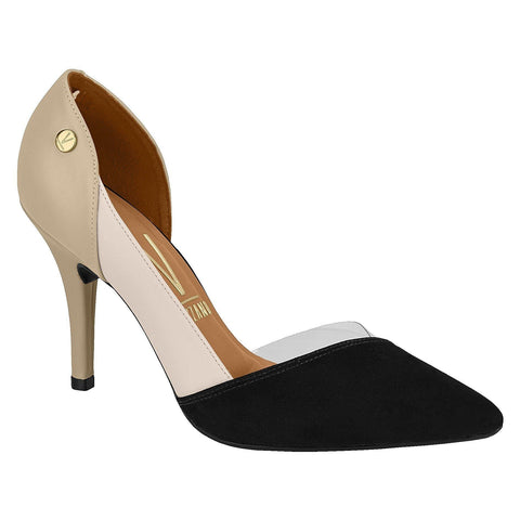 Vizzano 1184-1122 Pointy Toe Pump in Black/Cream