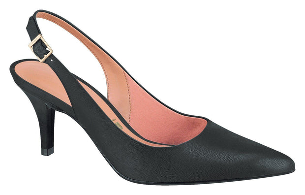 Vizzano 1185-100 Mid Heel Sling-back in Black Napa