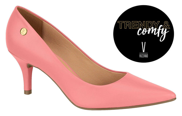 Vizzano 1185-702 Pointy Toe Pump in Coral Napa