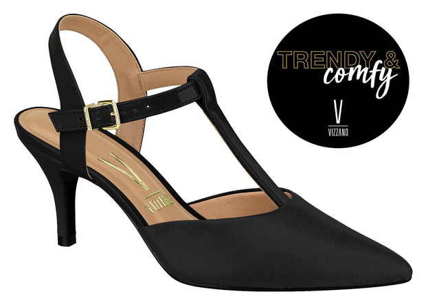 Vizzano 1185-782 Pointy Toe T-Bar Pump in Black Pelica