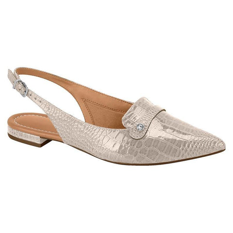 Vizzano 1206-259 Pointy Toe Flat Slingback in Cream Croc