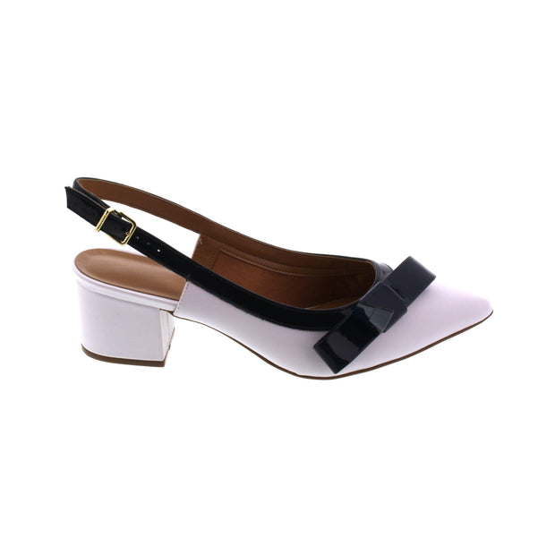 Vizzano 1220-228 Block Heel Slingback in White Napa with Navy Bow