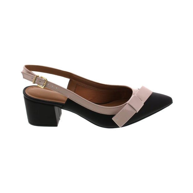 Vizzano 1220-228 Block Heel Slingback in Black/Cream