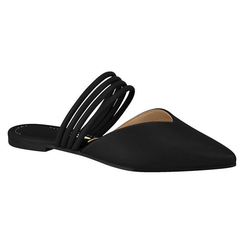 Vizzano 1269-129 Slip-on Flat Mule in Black Napa