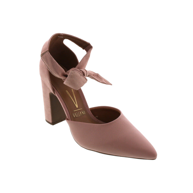 Vizzano 1285-105 Block Heel Ankle Tie Pump in Pink
