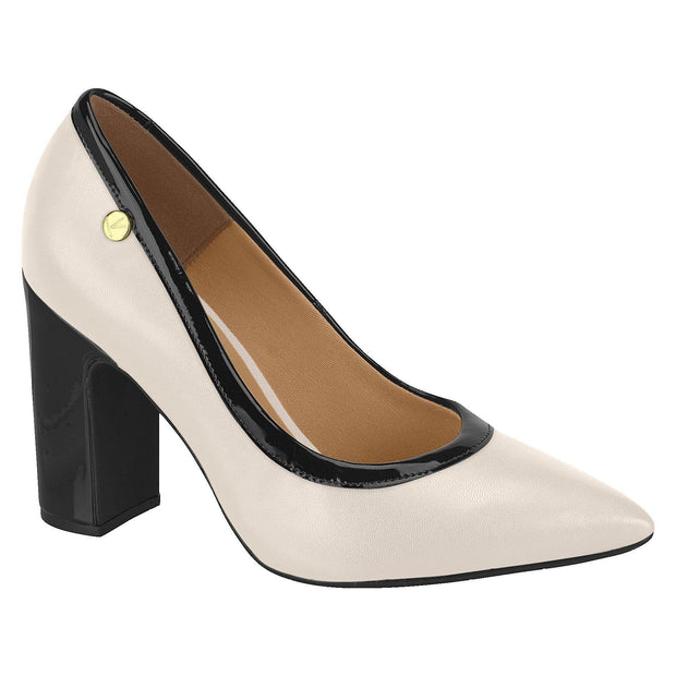 Vizzano 1285-112 Pointy Toe Contrasting Block Heel Pump in Cream/Black