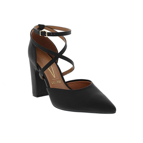 Vizzano 1285-114 Strapped Block Heel in Black Napa