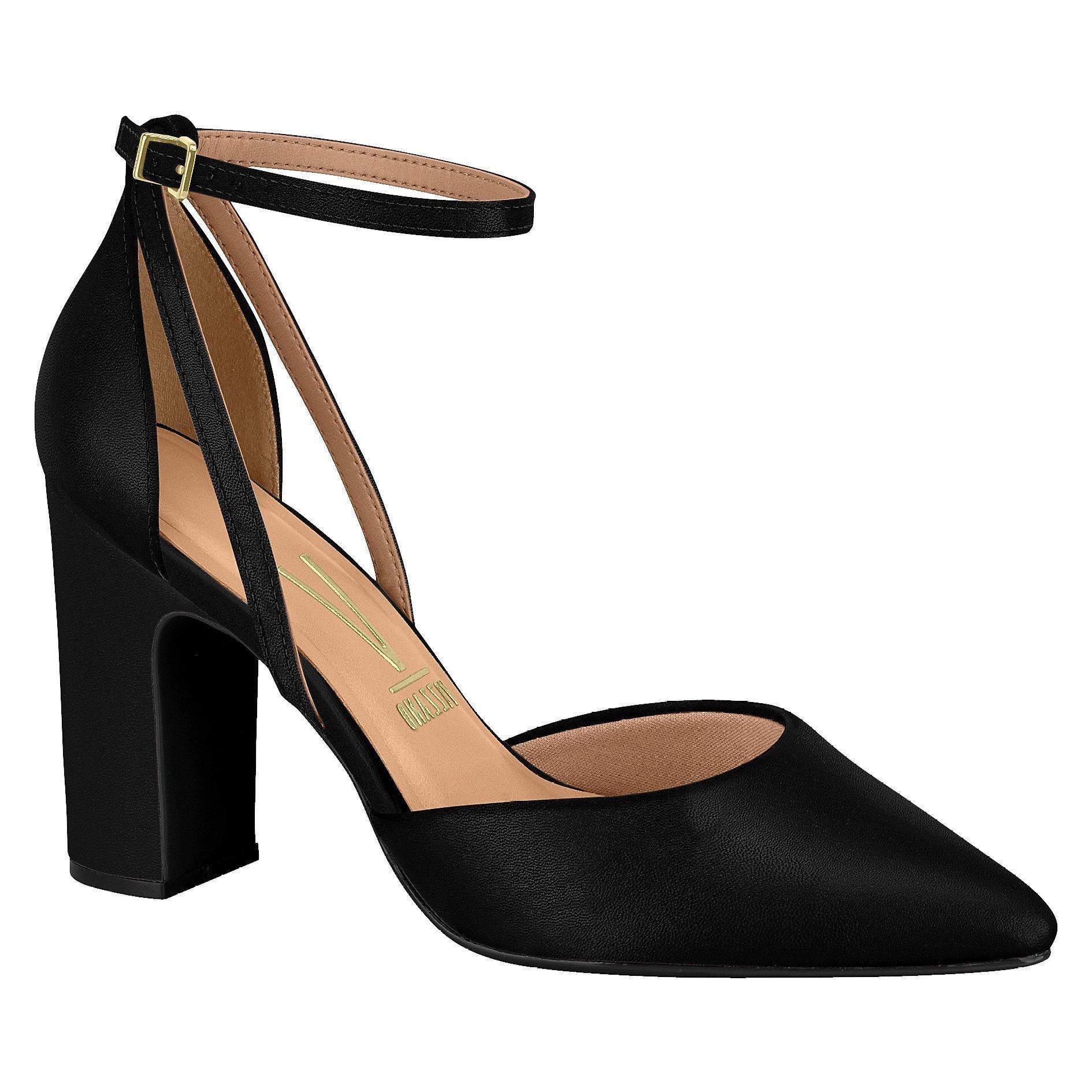 Vizzano 1285-421 Block Heel Pump in Black Napa