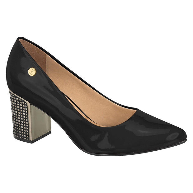 Vizzano 1290-600 Pointy Toe Pump with the Metallic Block heel in Black Patent