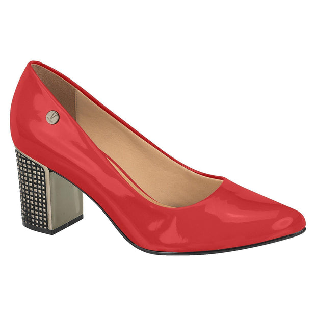 Vizzano 1290-600 Pointy Toe Pump with the Metallic Block heel in Red Patent