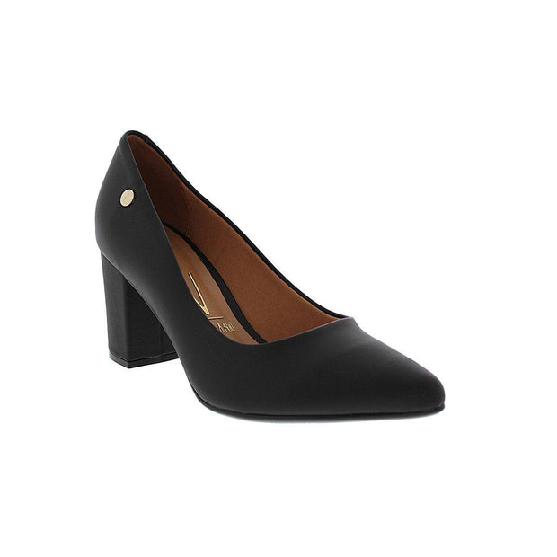 Vizzano 1290-400 Block Heel Pointy Toe in Black Napa