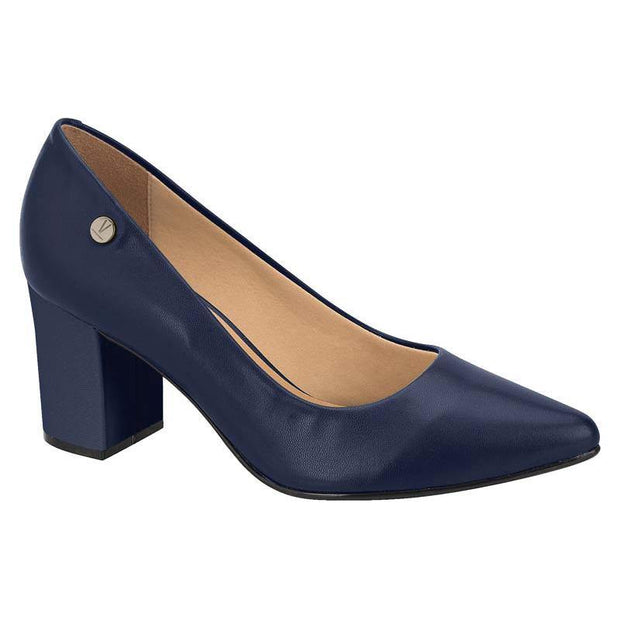 Vizzano 1290-400 Block Heel Pointy Toe in Navy Napa Heels Vizzano