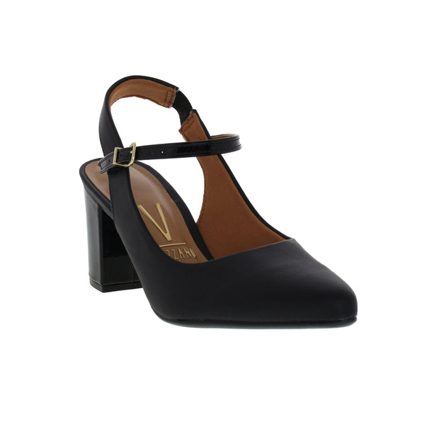Vizzano 1290-413 Strapped Block Heel in Black Patent
