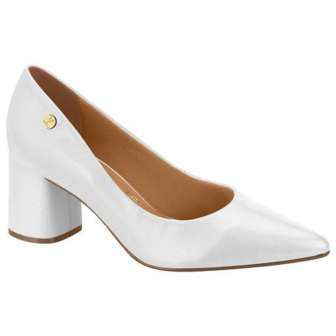 Vizzano 1342-100 Block Heel Pump in White Napa