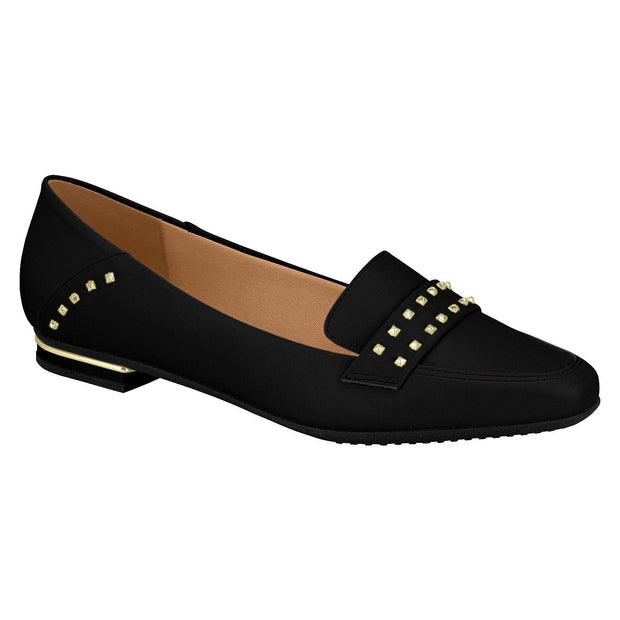 Vizzano 1345-103 Studded Flat Loafer in Black Napa