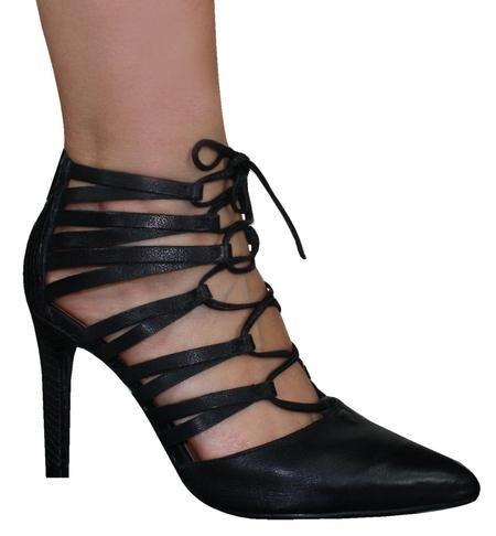 Ramarim 14-75103 Laced Up High Heel Point in Black Sandals Ramarim