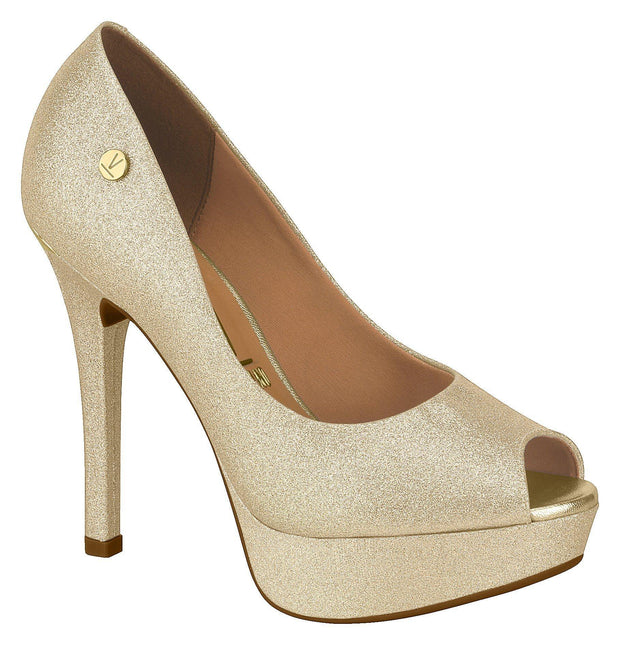 Vizzano 1830-100 Peep-toe Pump in Gold Glitter