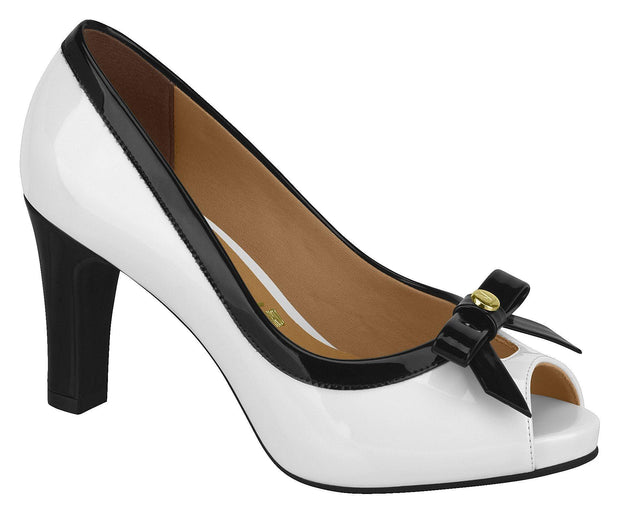 Vizzano 1840-112 Peep-toe Pump in White Napa