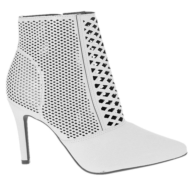Vizzano 3049-227 Stiletto Ankle Boot in White Patent
