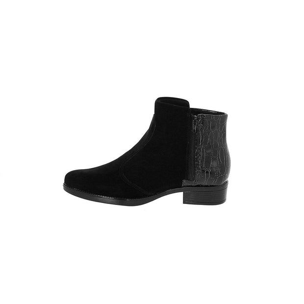Vizzano 3050-118 Flat Ankle Boots in Black Nubuck/Croco