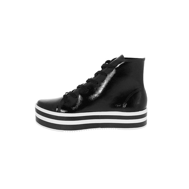 Vizzano 3071-102 Flatform Ankle Boots in Black Patent