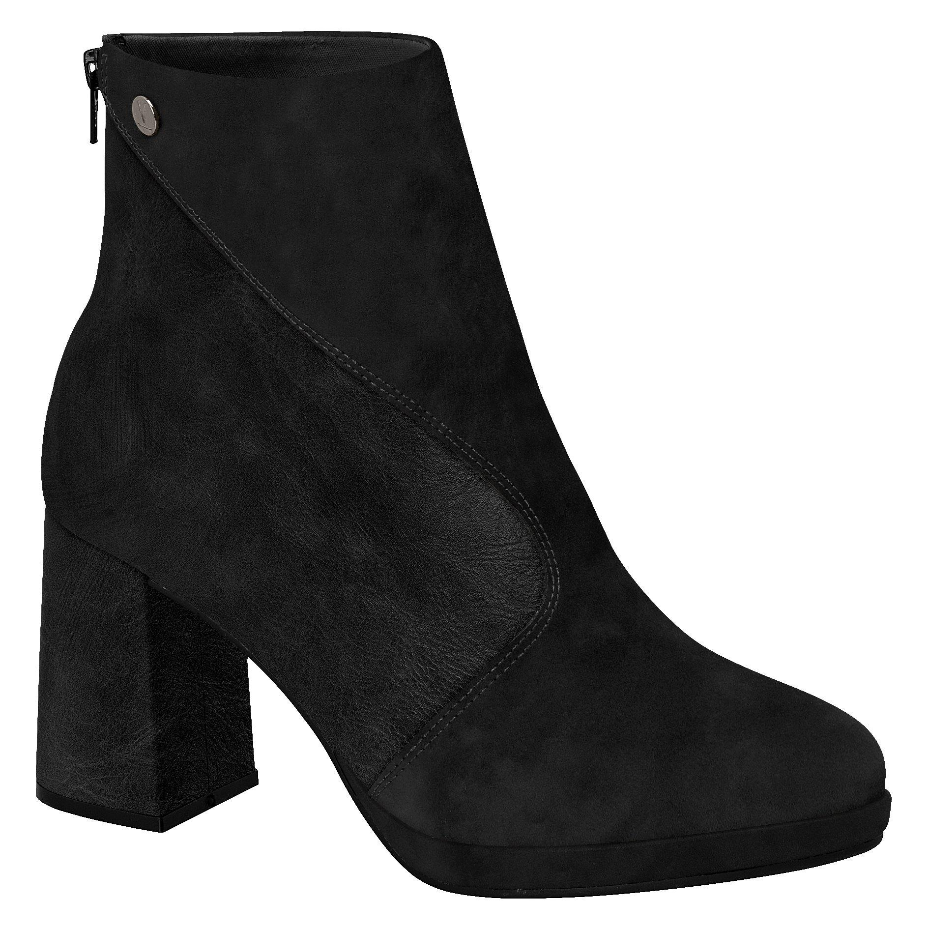 Vizzano 3076-105 Round Toe Block Heel Ankle Boot in Black
