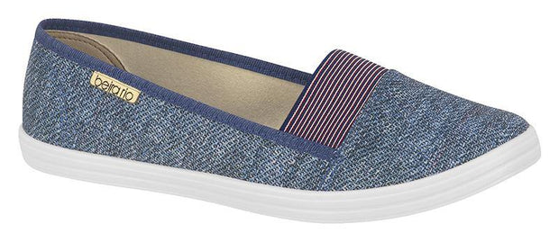 Beira Rio 4145-109 Canvas Slip-on Flat in Multi Blue Flats Beira Rio
