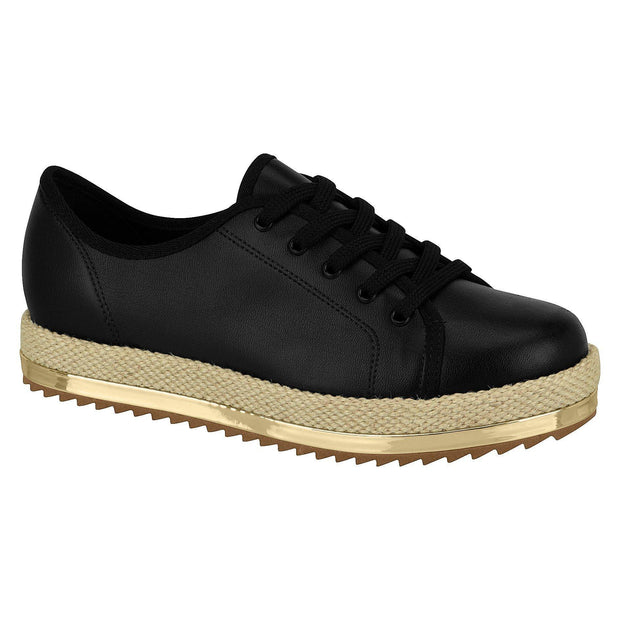 Beira Rio 4196-603 Lace-Up Espadrille Sole Sneaker in Black Flats Beira Rio