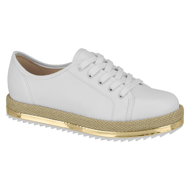Beira Rio 4196-603 Lace-Up Espadrille Sole Sneaker in White