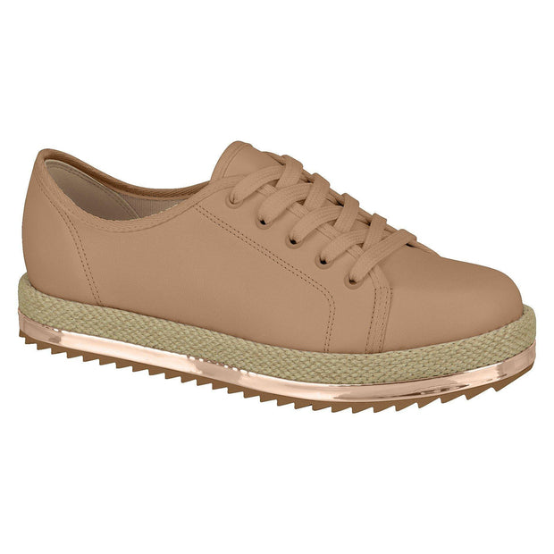 Beira Rio 4196-603 Lace-Up Espadrille Sole Sneaker in Nude