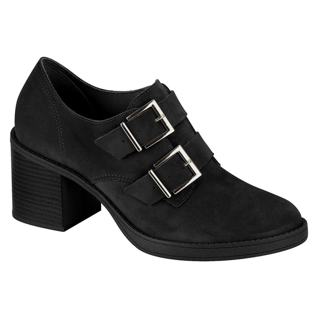 Beira Rio 4225-103 Buckle-Up Oxford Heel in Black Nubuck