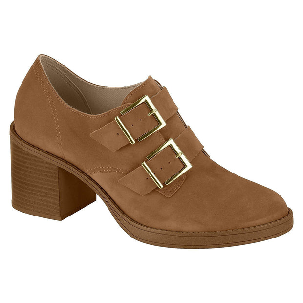 Beira Rio 4225-103 Buckle-Up Oxford Heel in Camel Nubuck Heels Beira Rio