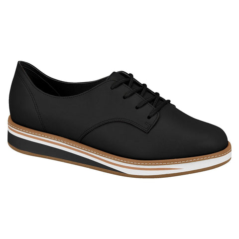 Beira Rio 4235-101 Brogue Lace-Up Flat in Black Napa