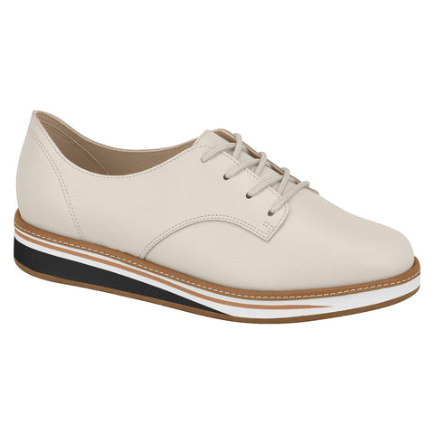 Beira Rio 4235-101 Brogue Lace-Up Flat in Cream Napa