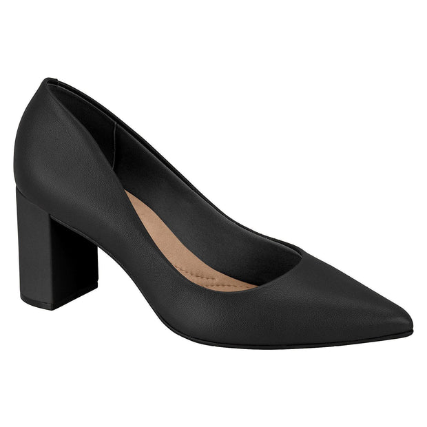 Beira Rio 4241-100 Pointy Toe Block Heel Pump in Black Napa Heels Beira Rio