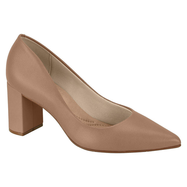 Beira Rio 4241-100 Pointy Toe Block Heel Pump in Nude Napa