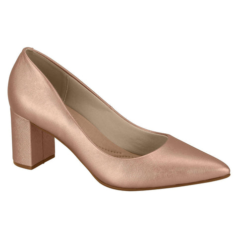 Beira Rio 4241-100 Pointy Toe Block Heel Pump in Rose Gold