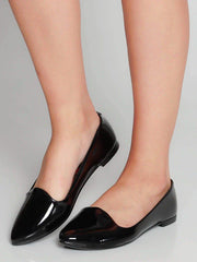 Beira Rio 4243-100 Flat Almond Toe Loafer in Black Patent Flats Beira Rio